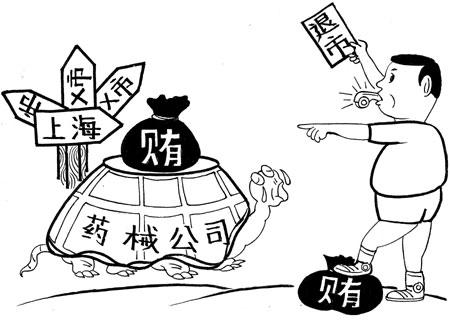 走错方向了 俞柏鸿 画 据2月16日《上海证券报》报道,15日,上海市卫生局在通报卫生系统治理商业贿赂专项工作时透露,珠海丽珠试剂股份有限公司、上海瑞宜医疗器械有限公司、上海哲明工贸有限公司等3家药械生产、经营企业因在经营活动中犯有商业贿赂行为,严重违规,被上海市卫生局列入黑名单:从2月16日起,两年内上海市各级医疗卫生机构不得以任何名义、任何形式购入上述三家企业生产、经营的药品、医用设备和医用耗材;解除未终结的购销合同并由被列入商业贿赂不良记录的企业承担违约责任。